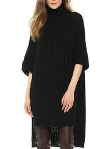 Black High Neck Split Sweater Dress