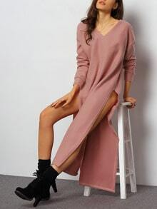 Pink V Neck Backless Split Dress