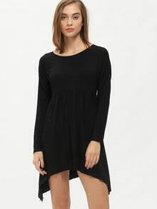 Black Long Sleeve Loose Tee Dress