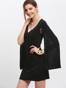 Black V Neck Split Sleeve Bodycon Dress