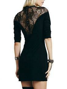 Black Stand Collar Lace Bodycon Dress