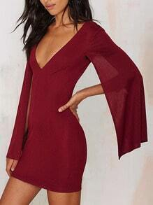 Red V Neck Split Sleeve Bodycon Dress