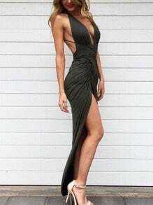 Green Slip Backless Split Maxi Dress