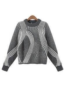 Grey Round Neck Striped Crop Sweater