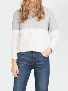 Colour-block Zipper Cable Knit Sweater