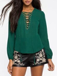 Green Long Sleeve Lace Up Loose Blouse