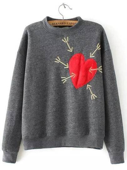 Grey Stand Collar Heart Arrow Embroidered Sweatshirt