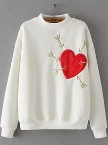White Stand Collar Heart Arrow Embroidered Sweatshirt