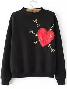 Black Stand Collar Heart Arrow Embroidered Sweatshirt