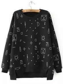 Black Round Neck Graffiti Print Dip Hem Sweatshirt