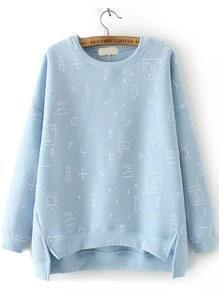 Blue Round Neck Graffiti Print Dip Hem Sweatshirt
