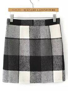 Black White Plaid Woolen Skirt
