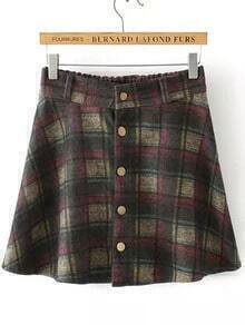Colour Elastic Waist Plaid Buttons Skirt