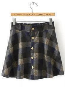 Blue Yellow Elastic Waist Plaid Buttons Skirt