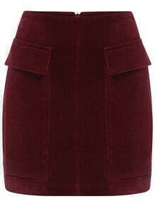 Red Pockets Corduroy Skirt