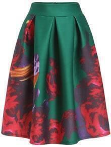 Green High Waist Floral Flare Skirt