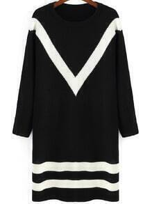 Black White Round Neck Striped Sweater Dress