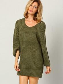 Green Round Neck Long Sleeve Sweater Dress