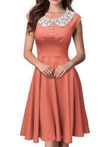 Orange Lace Collar Cap Sleeve Slim Dress