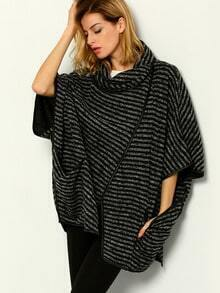 Black High Neck Striped Loose Cape