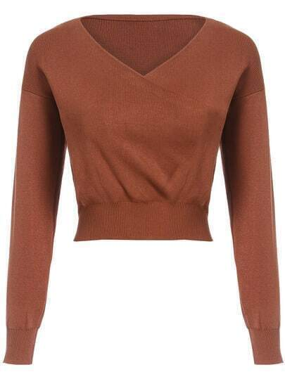 Khaki V Neck Slim Crop Knitwear