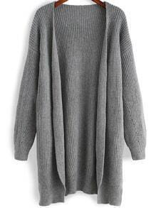 Grey Long Sleeve Split Loose Cardigan