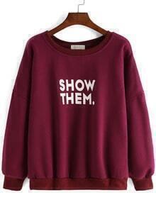 Burgundy Round Neck Letters Print Loose Sweatshirt
