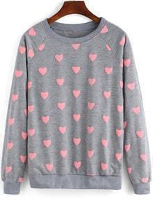 Grey Round Neck Hearts Patterned Sweatshirt