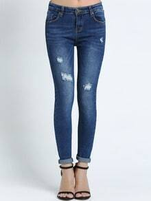 Blue Slim Bleached Ripped Denim Pant