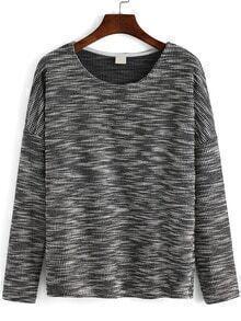 Black White Round Neck Loose T-Shirt