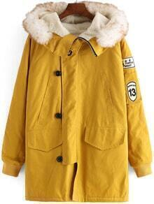 Yellow Faux Fur Hooded Buttons Loose Coat