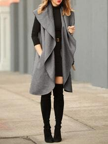 Grey Sleeveless Lapel Trench Coat