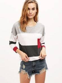 Burgundy Grey Round Neck Color Block T-Shirt