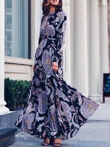 Multicolor Long Sleeve Vintage Print Maxi Dress