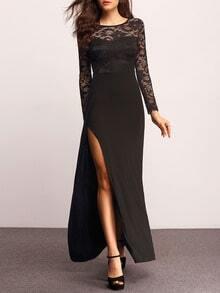 Black Long Sleeve With Lace Split Maxi Dress