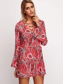 Multicolour  Long Sleeve Lace Up Vintage Print Dress