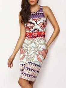 Multicolor Sleeveless Floral Sheath Dress