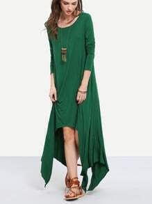 Green Round Neck Long Sleeve Asymmetric Dress