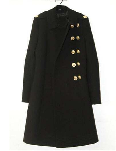 Black Lapel Double Breasted Pockets Long Coat
