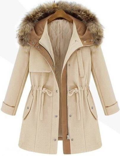 Beige Hooded Drawstring Pockets Coat