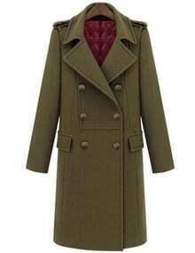 Army Green Lapel Double Breaste Pockets Long Coat