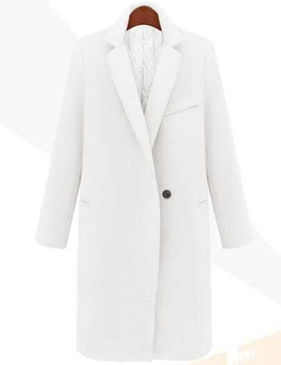 White Lapel Single Button Long Coat