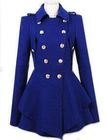 Royal Blue Lapel Double Breasted Frock Coat