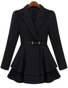 Black Lapel Belt Frock Coat