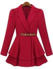 Red Lapel Belt Frock Coat