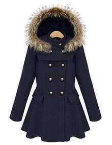 Navy Hooded Double Breasted Frock Coat