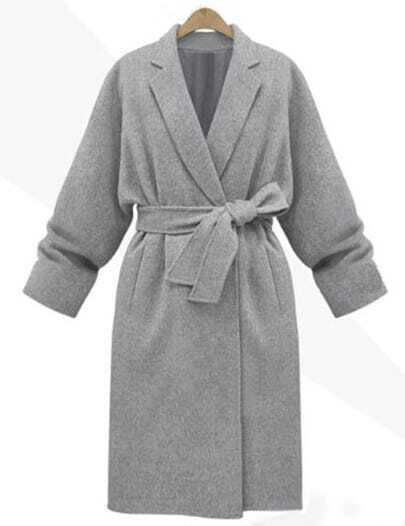Grey Lapel Belt Long Coat