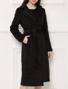 Black Lapel Belt Long Coat
