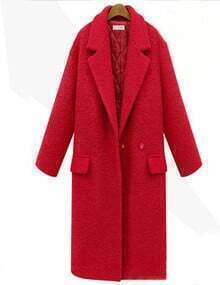 Red Lapel Single Button Pockets Long Coat