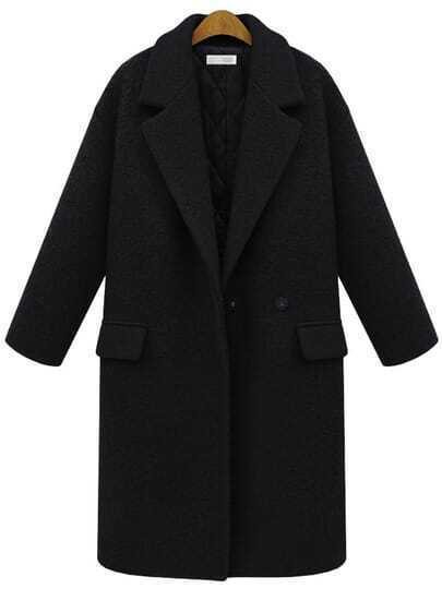 Black Lapel Single Button Pockets Long Coat